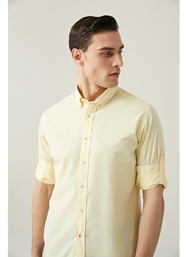 Damat Damat Slim Fit Beyaz Düz Yaka İğneli Gömlek Sarı